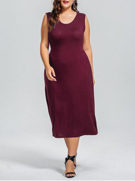 new Casual Plus Size Cut Out Dress - WINE RED 5XL