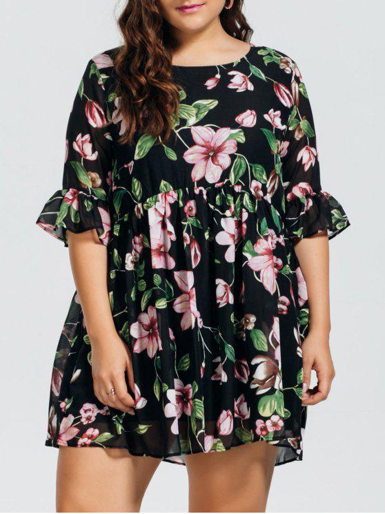 Chiffon Plus Size Floral Ruffles Dress - Floral 3XL