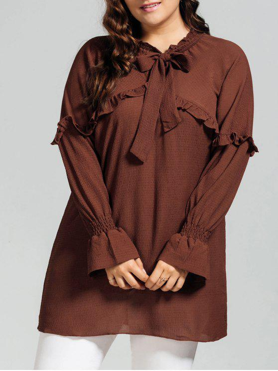 chic Longline Ruffles String Plus Size Blouse - BRICK-RED 2XL