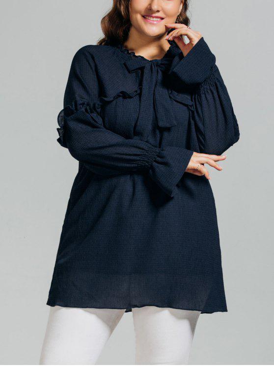 buy Longline Ruffles String Plus Size Blouse - PURPLISH BLUE XL
