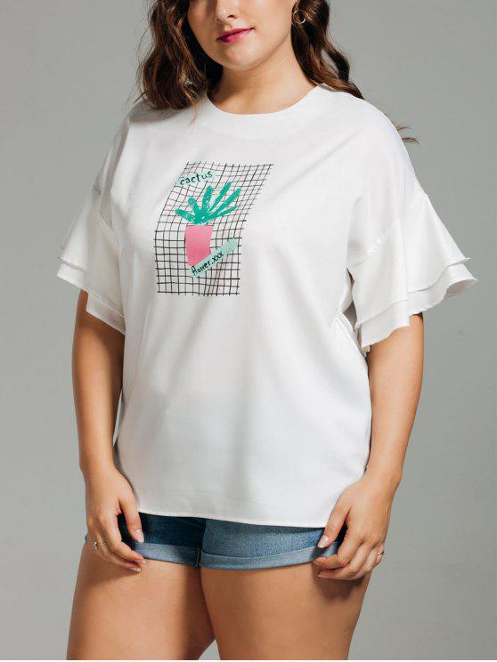 ladies Ruffles Plus Size Cactus Graphic Top - WHITE XL