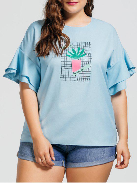 hot Ruffles Plus Size Cactus Graphic Top - LIGHT BLUE 3XL