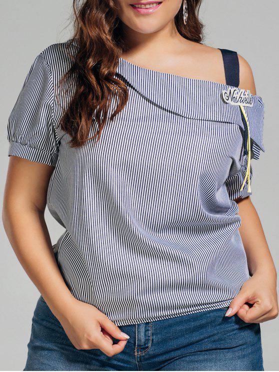 trendy Plus Size Stripes Cold Shoulder Top - BLACK 4XL