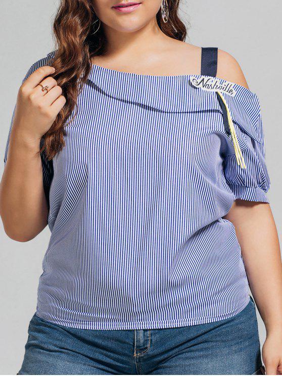 fashion Plus Size Stripes Cold Shoulder Top - BLUE 4XL