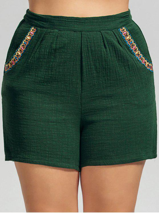 buy High Waisted Plus Size Embroidered Shorts - DEEP GREEN 4XL