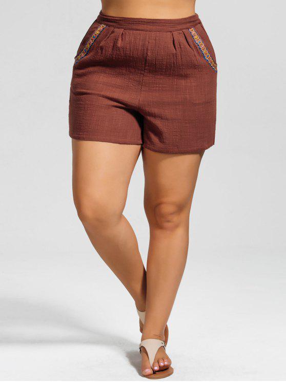 Shorts à grande taille à taille haute avec décoration de broderie - Brique 3XL