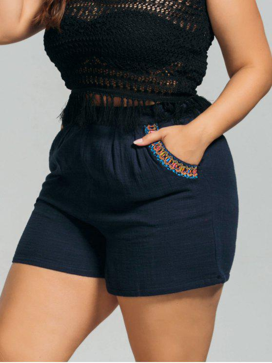lady High Waisted Plus Size Embroidered Shorts - PURPLISH BLUE 3XL