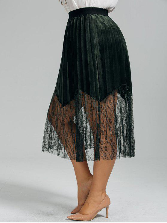 online Plus Size Lace Panel Pleated Skirt - BLACKISH GREEN 2XL