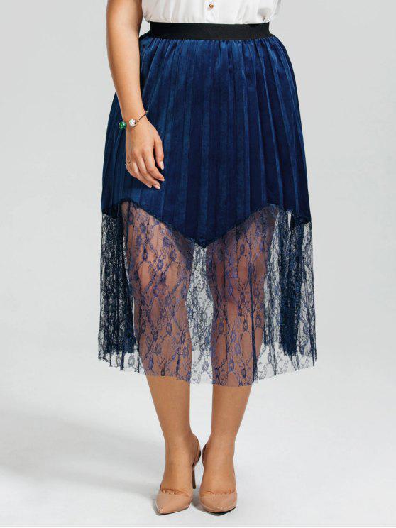 Jupe plissée grande taille à panneau en dentelle - Bleu Foncé 3XL