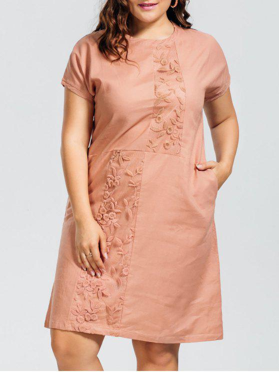 women Voile Panel Plus Size Embroidered Dress - NUDE PINK XL