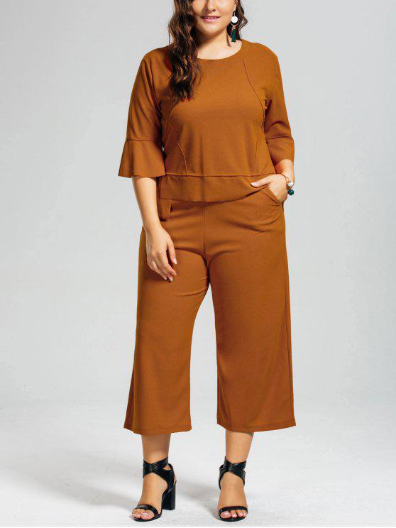 women's High Low Blouse and Capri Wide Leg Pants Plus Size Suit - EARTHY 2XL