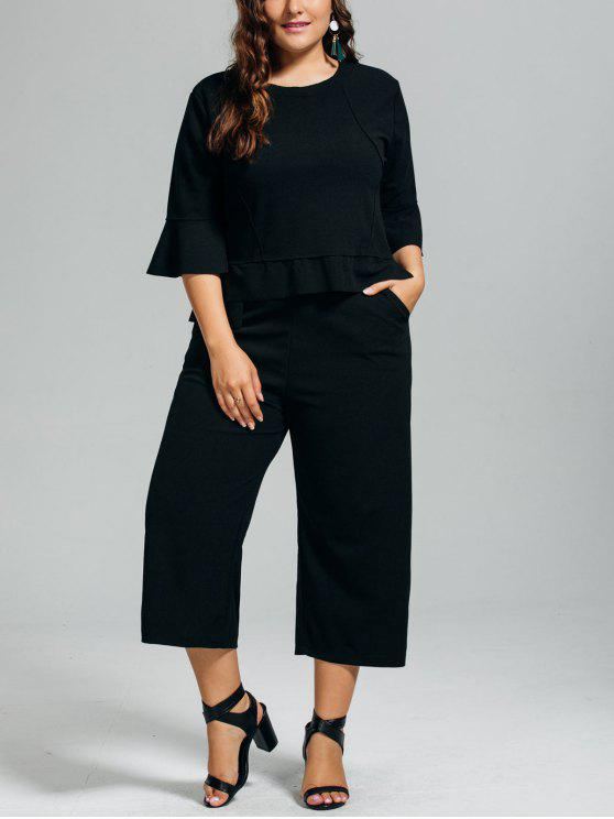new High Low Blouse and Capri Wide Leg Pants Plus Size Suit - BLACK 2XL