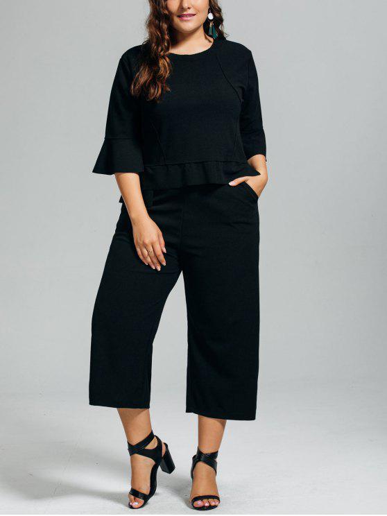 new High Low Blouse and Capri Wide Leg Pants Plus Size Suit - BLACK 2XL