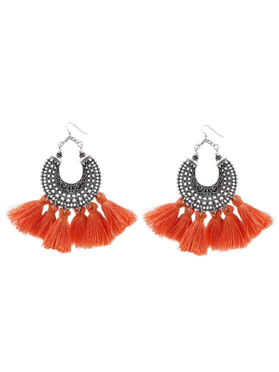 Moon Gypsy Tassel Hook Earrings - Orange