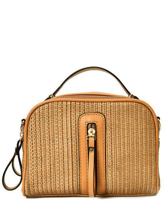 Top Handle Zips Straw Handbag - Castanha