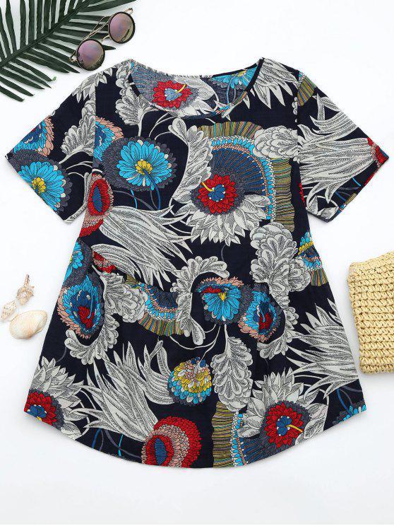 fashion Round Neck Floral Print Blouse - FLORAL M