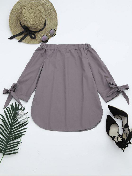 shop Off The Shoulder Longline Blouse - SMOKY GRAY S