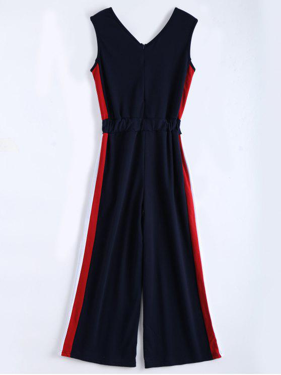 fashion V Neck Sleeveless Contrast Jumpsuit - PURPLISH BLUE XL