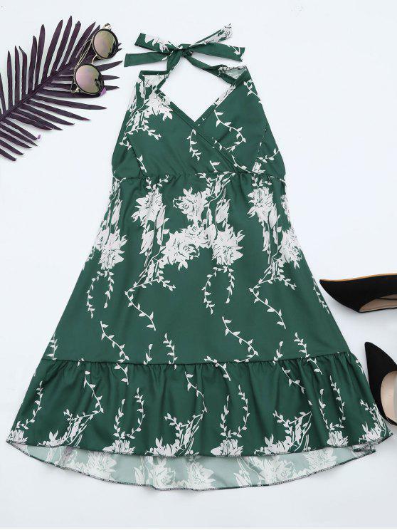 ladies Halter Floral Print Ruffle Hem Dress - GREEN XL