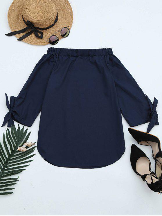 women's Off The Shoulder Longline Blouse - CADETBLUE L
