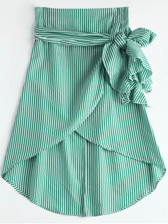 chic High Waist Ruffled Striped Asymmetric Skirt - GREEN XL
