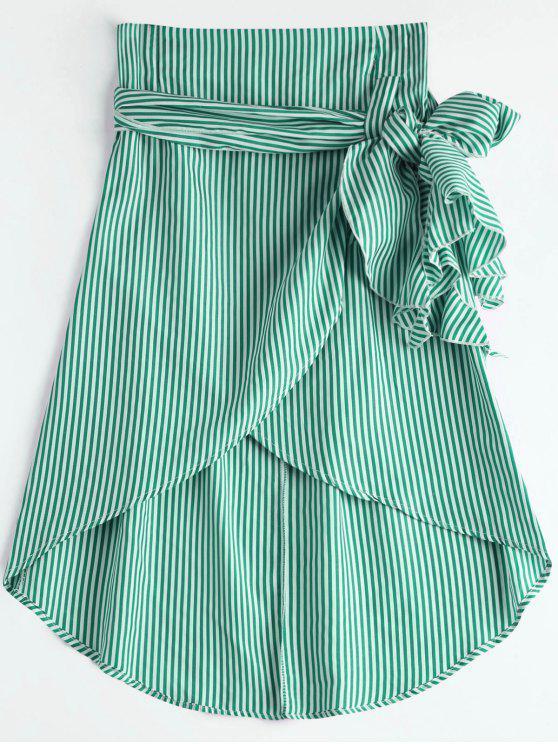 chic High Waist Ruffled Striped Asymmetric Skirt - GREEN XL