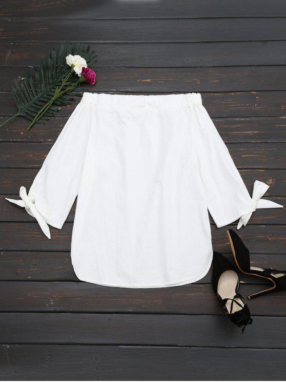 fashion Off The Shoulder Longline Blouse - WHITE L