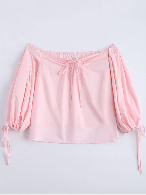 hot Off The Shoulder Self Tie Plain Blouse - PINK S