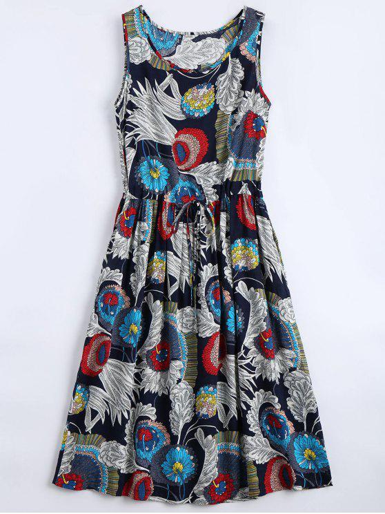 Robe évasée imprimée fleur sans manche - Floral S