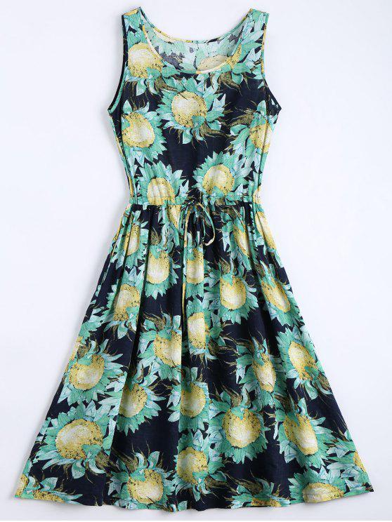 lady Floral Print Drawstring Sleeveless Dress - FLORAL XL