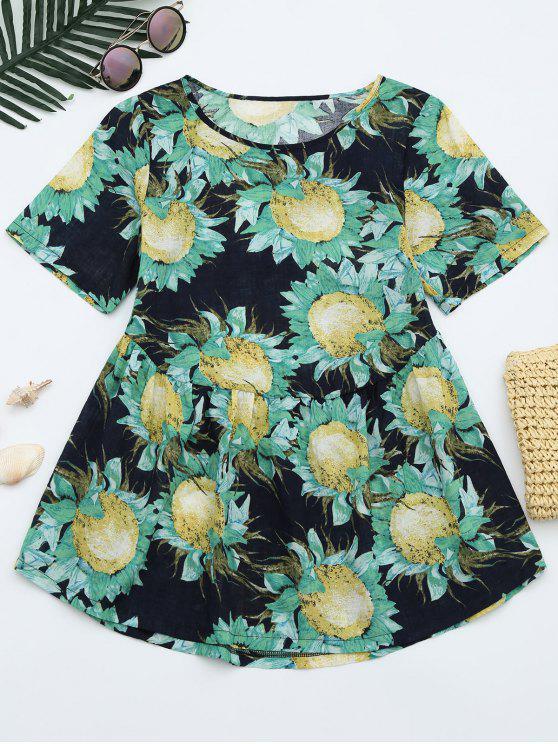 best Floral Print Longline Blouse - FLORAL XL