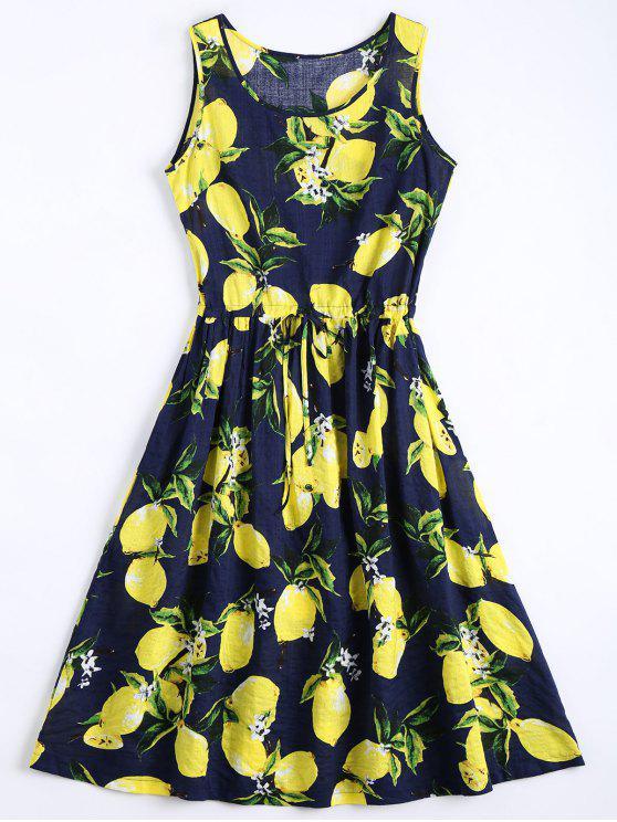 latest Lemon Print Drawstring Sleeveless Dress - DEEP BLUE S