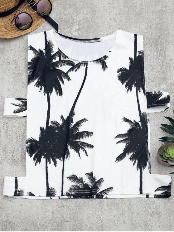 fancy Palm Tree Print Cut Out Tank Top - WHITE S