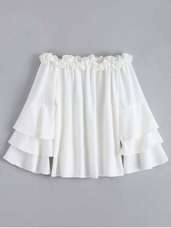 women Ruffle Trim Tiered Flare Sleeve Blouse - WHITE L