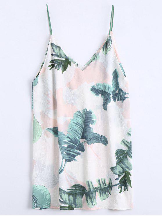 ladies Leaves Print Mini Cami Shift Dress - WHITE L