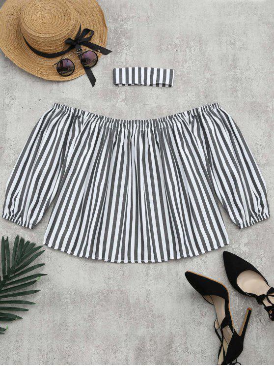 sale Puff Sleeve Striped Blouse with Chocker - STRIPE M