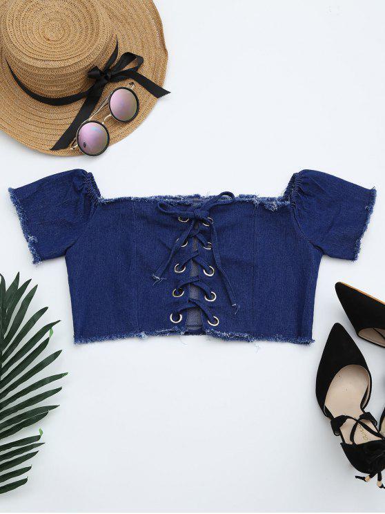 sale Lace Up Frayed Hem Crop Denim Blouse - DEEP BLUE S