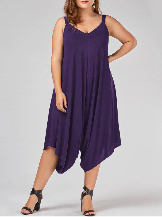 affordable Plus Size V Neck Baggy Capri Jumpsuit - PURPLE XL