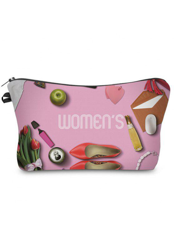 affordable 3D Cosmetics Print Clutch Makeup Bag - ROSE RED