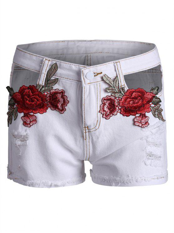 fashion Embroidered Ripped Curved Hem Denim Shorts - WHITE L