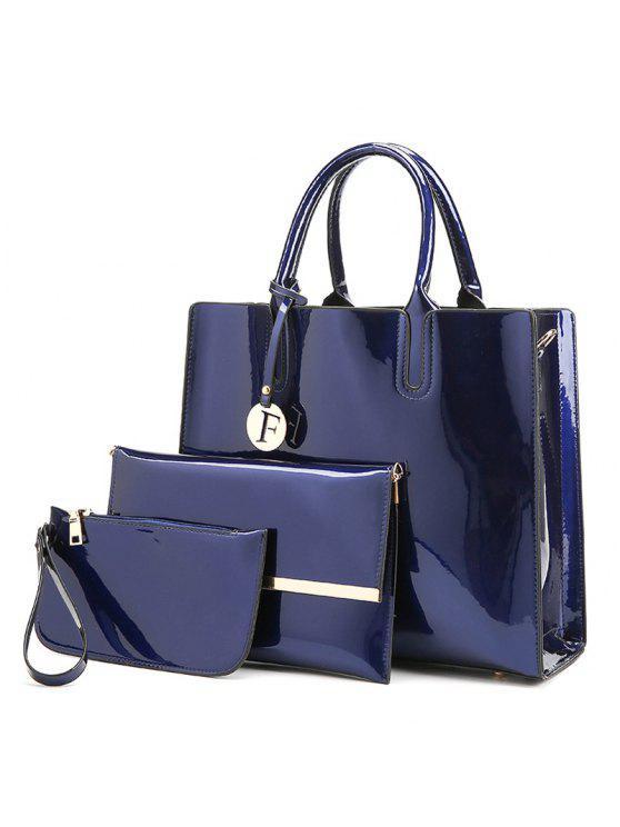 3 قطع حقائب اليد بجلد لماع - أزرق