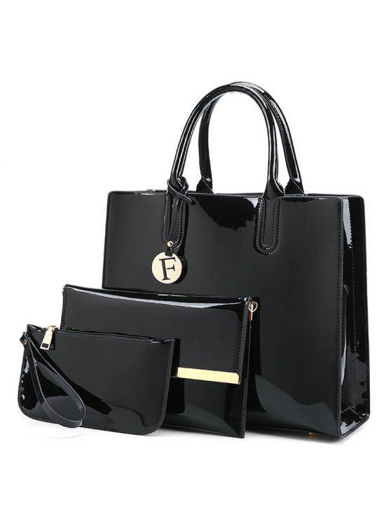 3 قطع حقائب اليد بجلد لماع - أسود