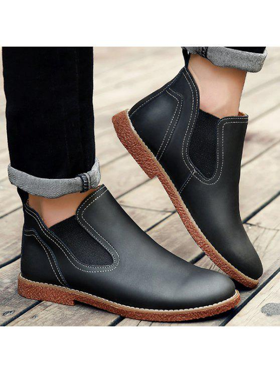5f0ba8dcc6 Slip-On Stitching PU Leather Ankle Boots BLACK  Boots 43
