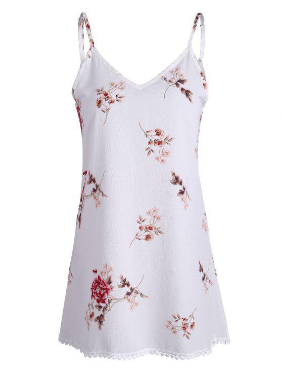 السباغيتي حزام الأزهار طباعة البسيطة اللباس ترابيز - أبيض M