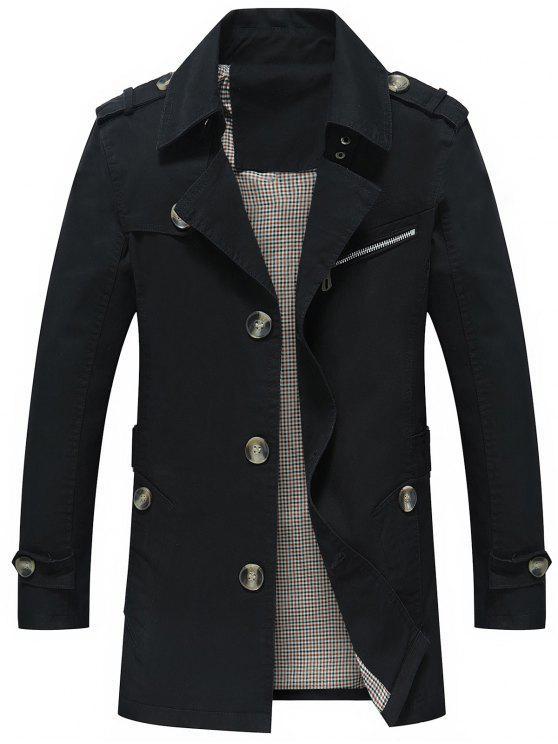 معطف ملائم زر طية الصدر - أسود XL