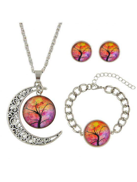 جولة شجرة الحياة القمر مجموعة مجوهرات - فضة