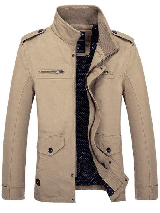 shop Stand Collar Side Pocket Design Graphic Print Jacket - KHAKI M