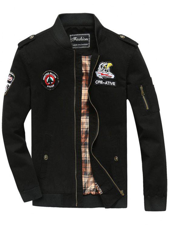 new Patch Design Zip Fly Bomber Jacket - BLACK 3XL