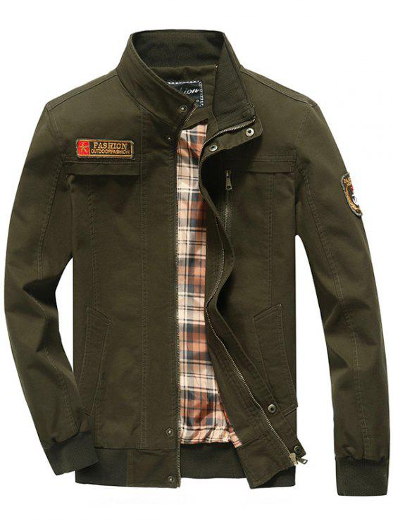 trendy Patch Embellished Snap Button Design Jacket - ARMY GREEN M