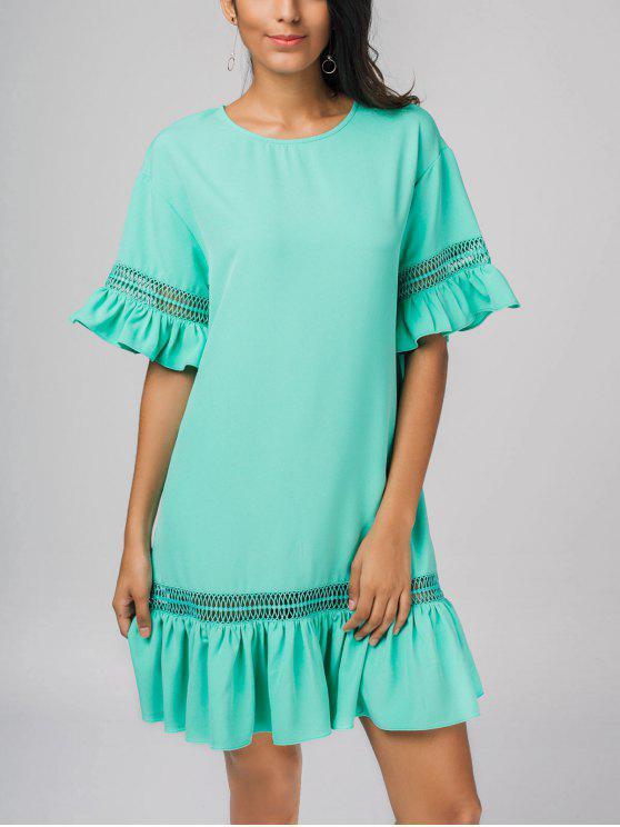 Vestido Casual Rodado com Transparência - Azul L